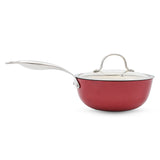 Light weigh enamel coated cast iron saucepan