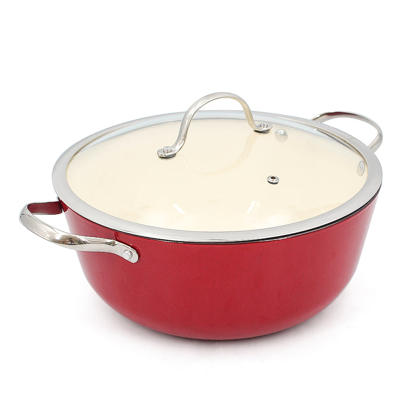 Light weight enamel coated cast iron cookware set