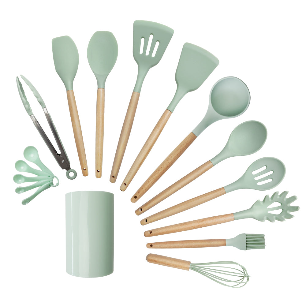 10 pieces wooden frame silicone utensils set with bucket