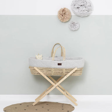 The Little Green Sheep Organic Quilted Moses Basket Set inc Natural mattress - Dove Rice  - Hola BB