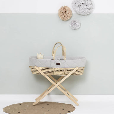 The Little Green Sheep Organic Quilted Moses Basket Set inc Natural mattress - Dove  - Hola BB