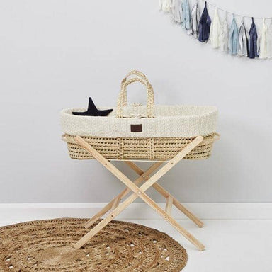 The Little Green Sheep Organic Knitted Moses Basket Set inc Natural mattress - Linen  - Hola BB