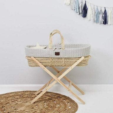 The Little Green Sheep Organic Knitted Moses Basket Set inc Natural mattress - Dove r  - Hola BB