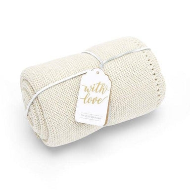 Organic Knitted Baby Blanket - Linen - Hola BB