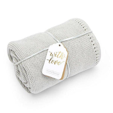 Organic Knitted Baby Blanket - Dove - Hola BB