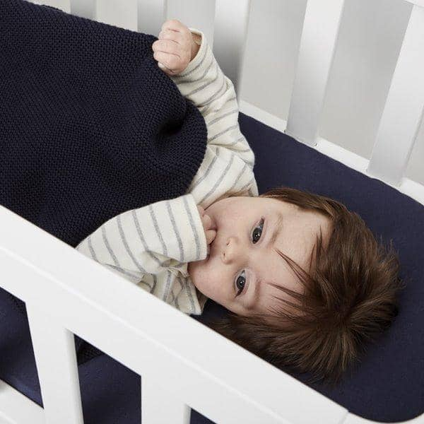 Organic Knitted Baby Blanket - Midnight - Hola BB
