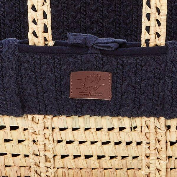 The Little Green Sheep Organic Knitted Moses Basket Set inc Natural mattress - Midnight  - Hola BB