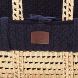 Organic Knitted Moses Basket Set inc Natural mattress - Midnight - Hola BB