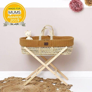 The Little Green Sheep Organic Knitted Moses Basket Set inc Natural mattress - Honey  - Hola BB