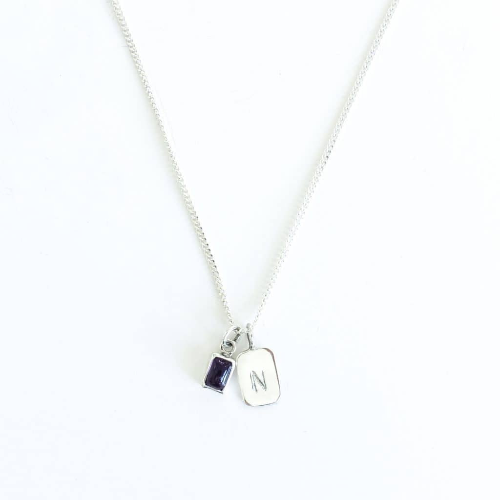 MAYLI Birth Stone Initial Pendant - Amethyst - Birth months: February  - Hola BB