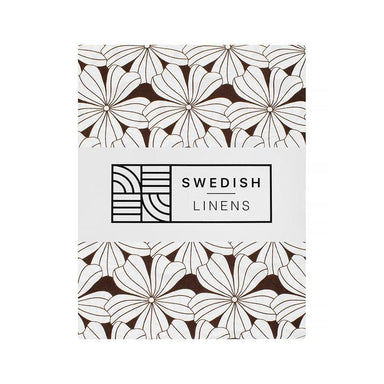 Swedish Linens Swedish Linens - Dark Chocolate Flowers Fitted Sheet  - Hola BB