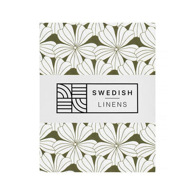 Swedish Linens Swedish Linens - Olive Green Flowers Fitted Sheet  - Hola BB