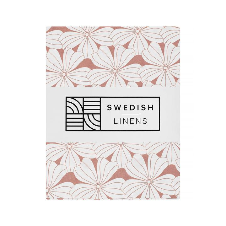 Swedish Linens Swedish Linens - Terracotta Pink Flowers Fitted Sheet  - Hola BB
