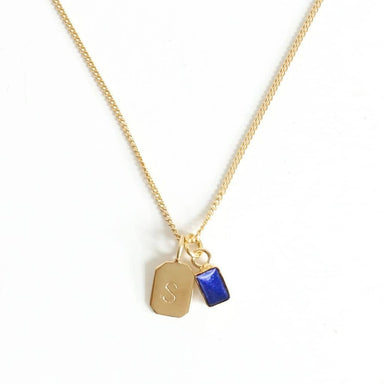 MAYLI Gold Birth Stone Initial Pendant - Lapis Lazuli - Birth months: September, December  - Hola BB