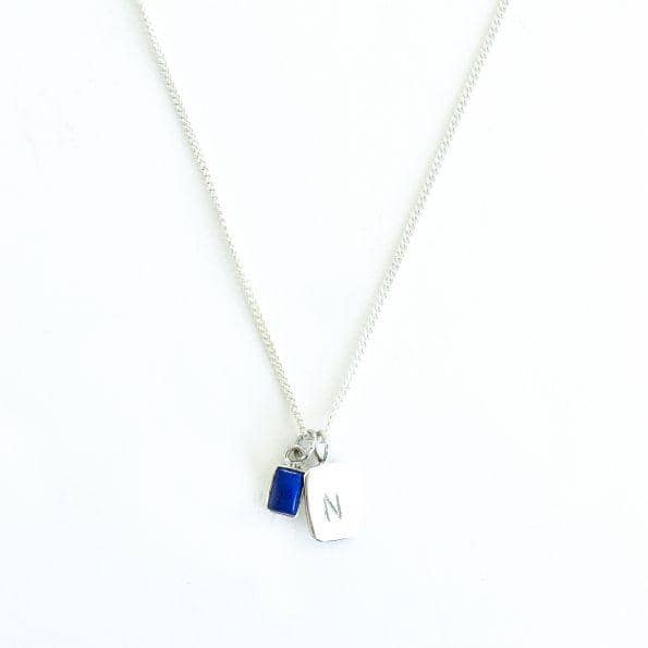 MAYLI Birth Stone Initial Pendant - Lapis Lazuli - Birth months: September, December  - Hola BB