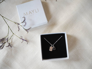 MAYLI Birth Stone Initial Pendant - Smoky Quartz Birth months: June, April  - Hola BB