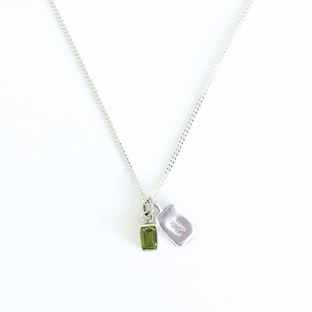 MAYLI Birth Stone Initial Pendant Peridot - Birth months: May, August, September  - Hola BB