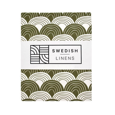 Swedish Linens Swedish Linens - Olive Rainbows Fitted Sheet  - Hola BB