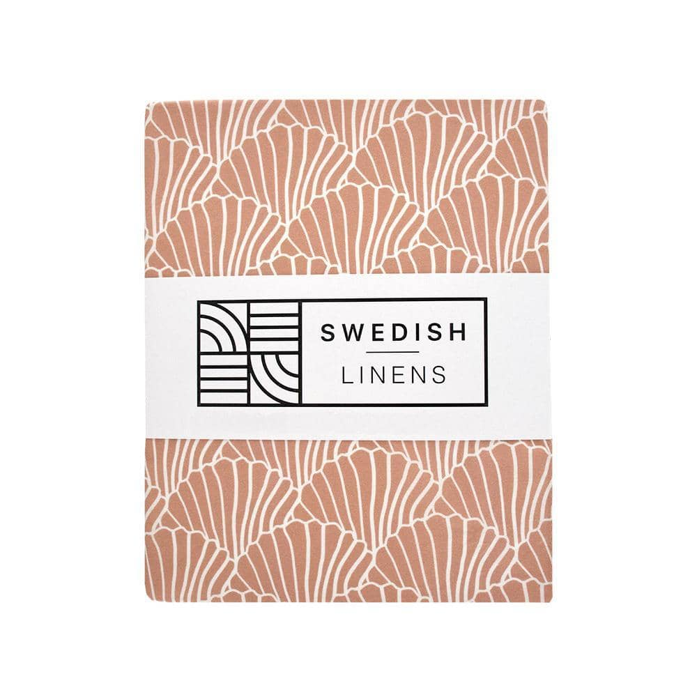 Swedish Linens Swedish Linens - Terracotta Pink Seashells Fitted Sheet  - Hola BB