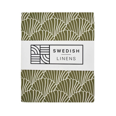 Swedish Linens Swedish Linens - Olive Seashells Fitted Sheet  - Hola BB