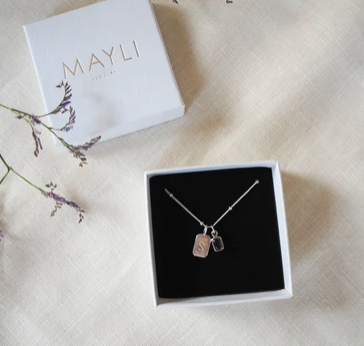 MAYLI Birth Stone Initial Pendant - Citrine - Birth months: April, November  - Hola BB