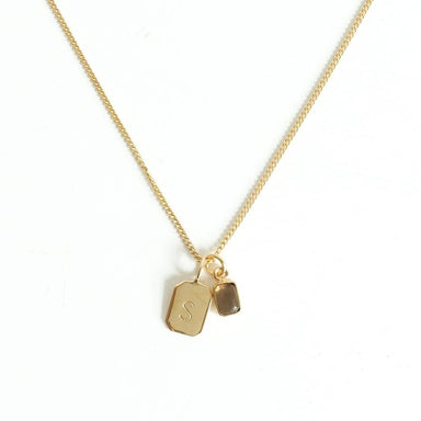 MAYLI Gold Birth Stone Initial Pendant - Smoky Quartz Birth months: June, April  - Hola BB