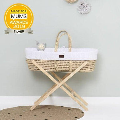 The Little Green Sheep Organic Knitted Moses Basket Set inc Natural mattress - White  - Hola BB