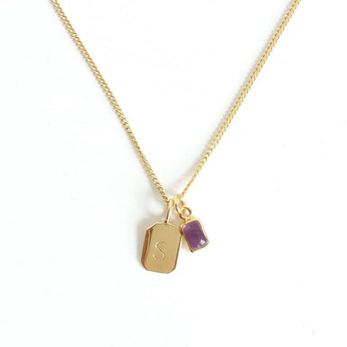 MAYLI Gold Birth Stone Initial Pendant - Amethyst - Birth months: February  - Hola BB