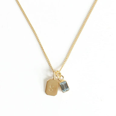 MAYLI Gold Birth Stone Initial Pendant - Aquamarine - Birth months: March, October  - Hola BB