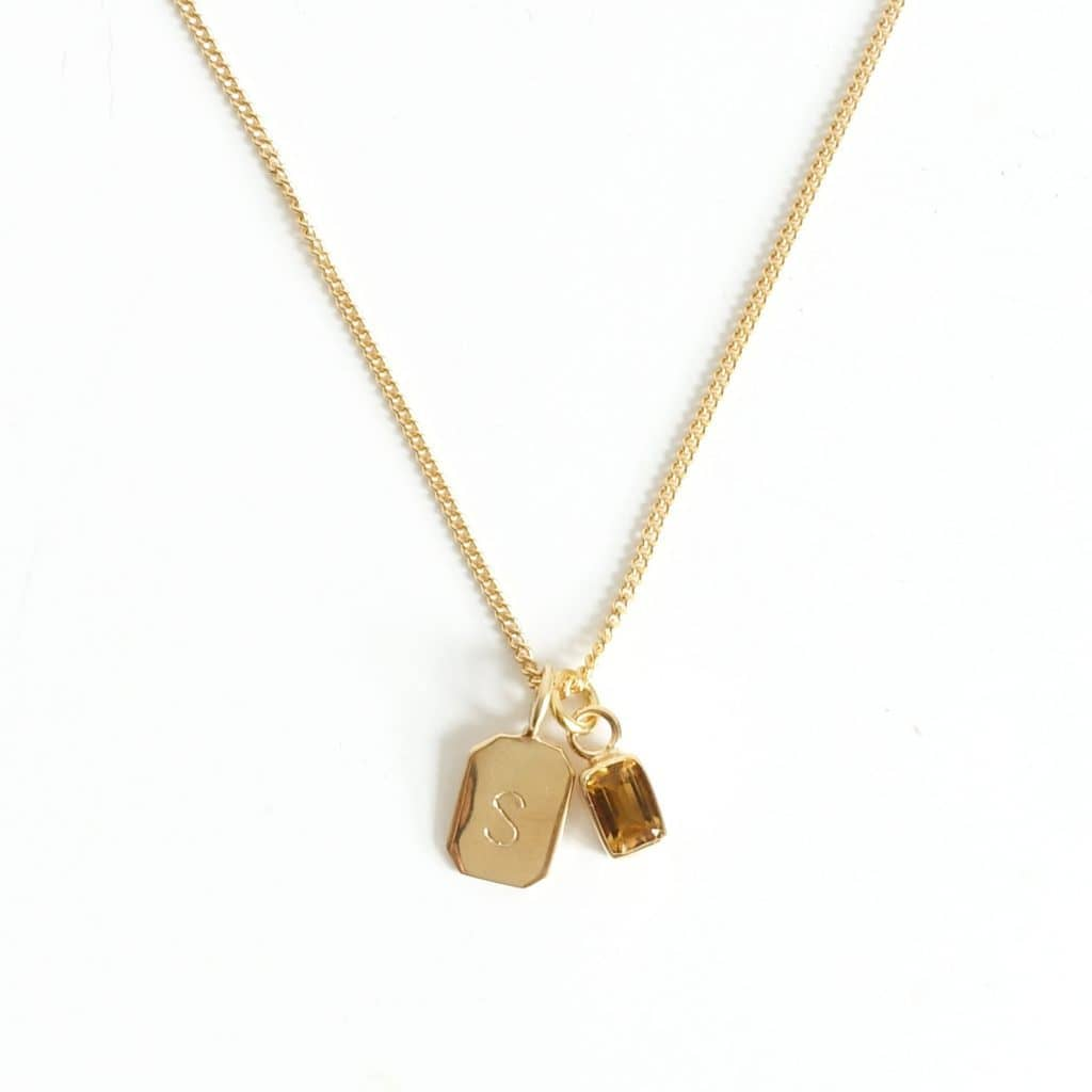 MAYLI Gold Birth Stone Initial Pendant - Citrine - Birth months: April, November  - Hola BB