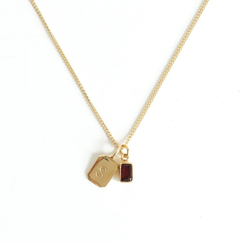MAYLI Gold Birth Stone Initial Pendant - Garnet - Birth months: January  - Hola BB