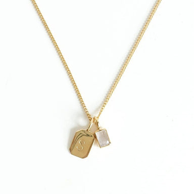 MAYLI Gold Birth Stone Initial Pendant - Moonstone - Birth months: June, August, September  - Hola BB