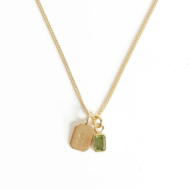 MAYLI Gold Birth Stone Initial Pendant Peridot - Birth months: May, August, September  - Hola BB