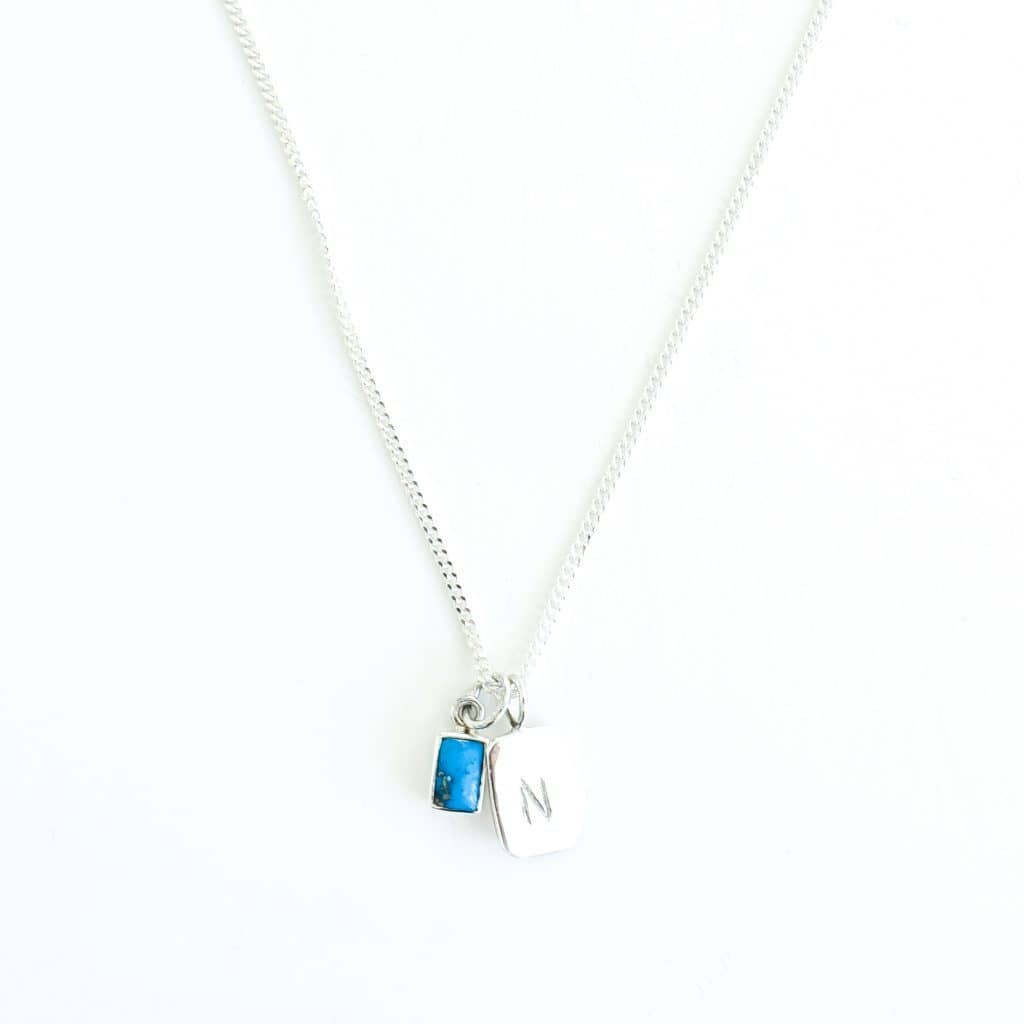 MAYLI Birth Stone Initial Pendant - Turquoise - Birth months: July, December  - Hola BB
