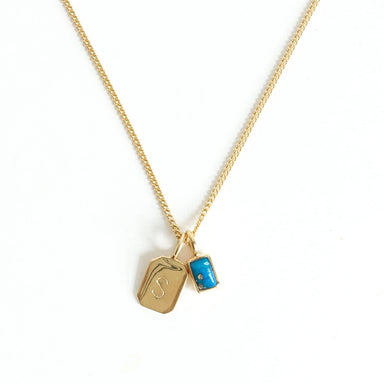 MAYLI Gold Birth Stone Initial Pendant - Turquoise - Birth months: July, December  - Hola BB