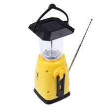 Portable Outdoor Camping Lamp Solar Hand Crank 8 LED Camping Lantern with AM FM NOAA Weather Radio