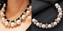 CuteCuteWorld:Big Imitation Pearl Necklace,Black