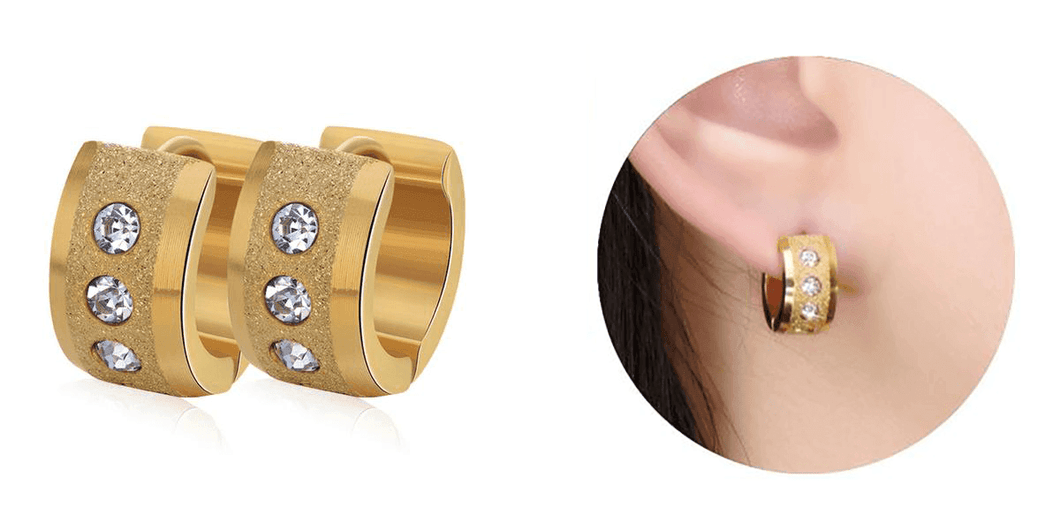CuteCuteWorld:Punk Rock Earrings,Gold