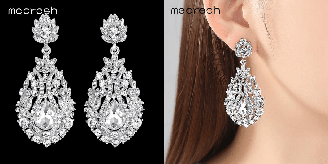 CuteCuteWorld:Long Crystal Earrings