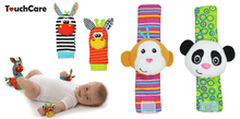 CuteCuteWorld:Baby Wrist Strip Rattles and Animal Socks,2x Donkey Wrist Strips