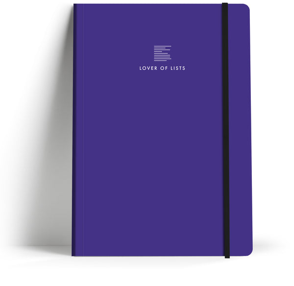 A5 Take note book with elastic closure. Front cover.
