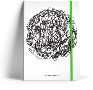 Scribbles 3 with Neon Green elastic A5 Notebook