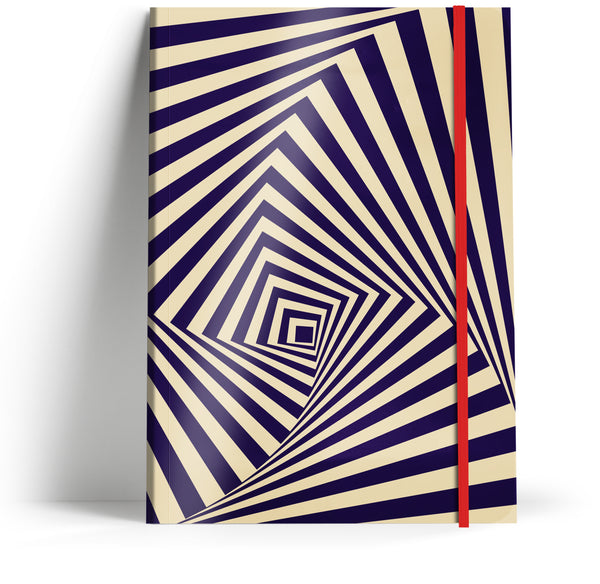 """Illusions 3"" A5 Notebook with red elastic"