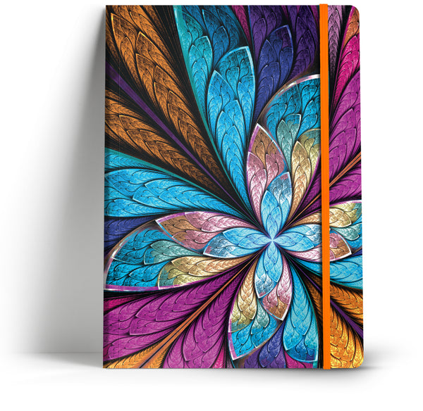 Ornate metallic feathers A5 notebook