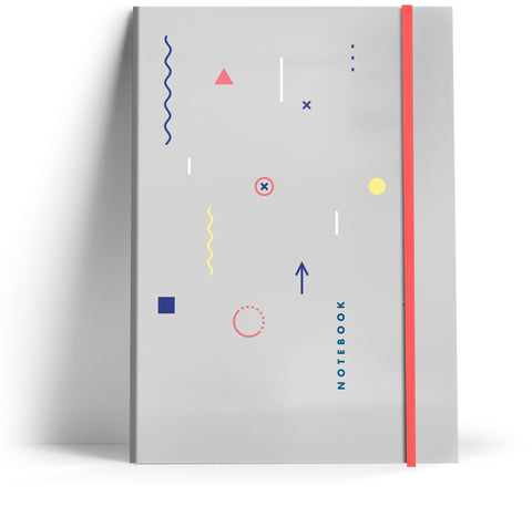 80's Geometric - Grey with neon pink elastic A5 Note book