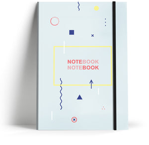 80's Geometric - Pale blue with neon black elastic A5 Note book