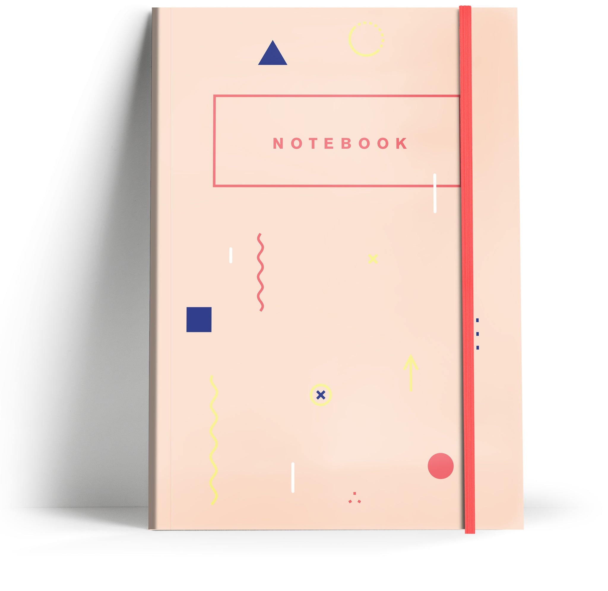 80's Geometric - Pale peach with neon pink elastic A5 Note book