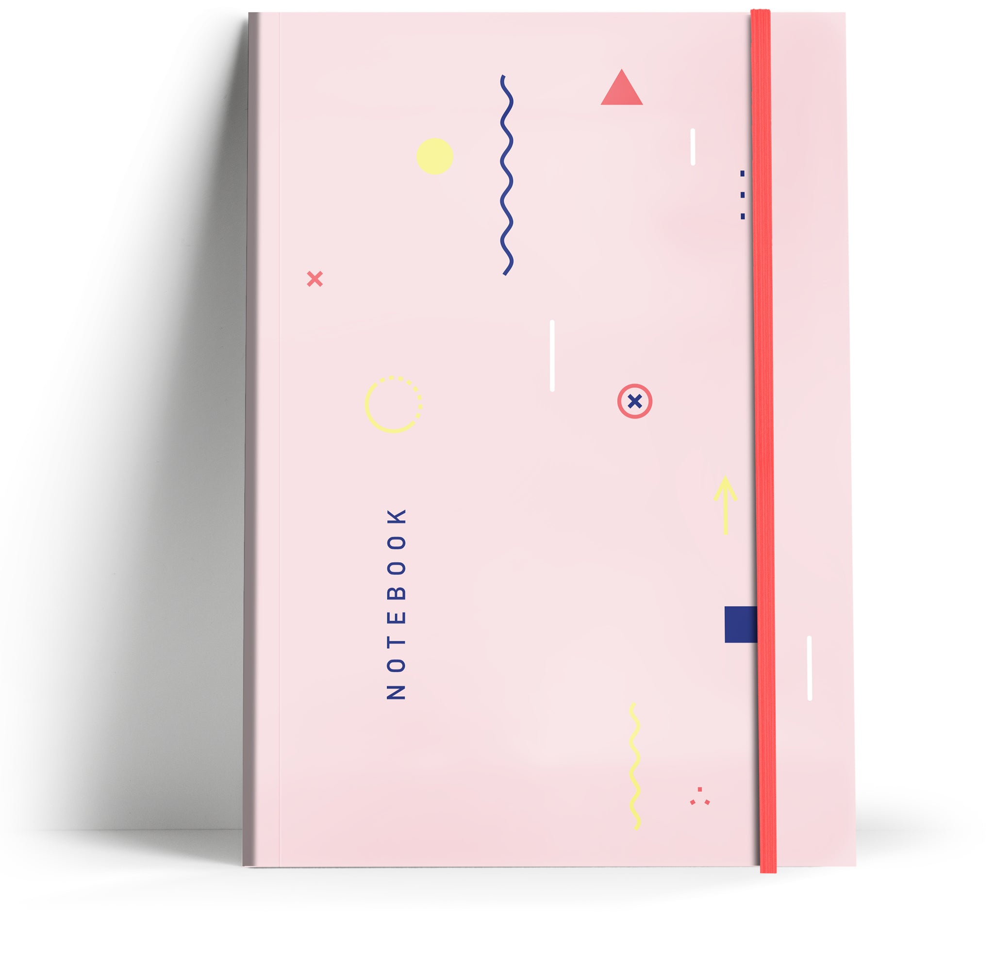 80's Geometric - Pale pink with neon pink elastic A5 Note book