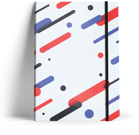 80's Geometric - Diagonal red & blue with black elastic A5 Note book