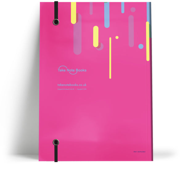 80's Geometric - Retro rain with black elastic A5 note book